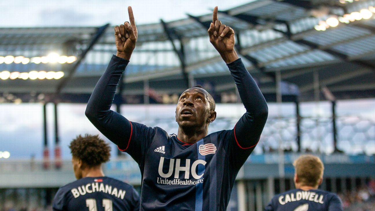 New England Revolution forward Juan Caicedo celebrates after scoring a goal against Sporting KC.
