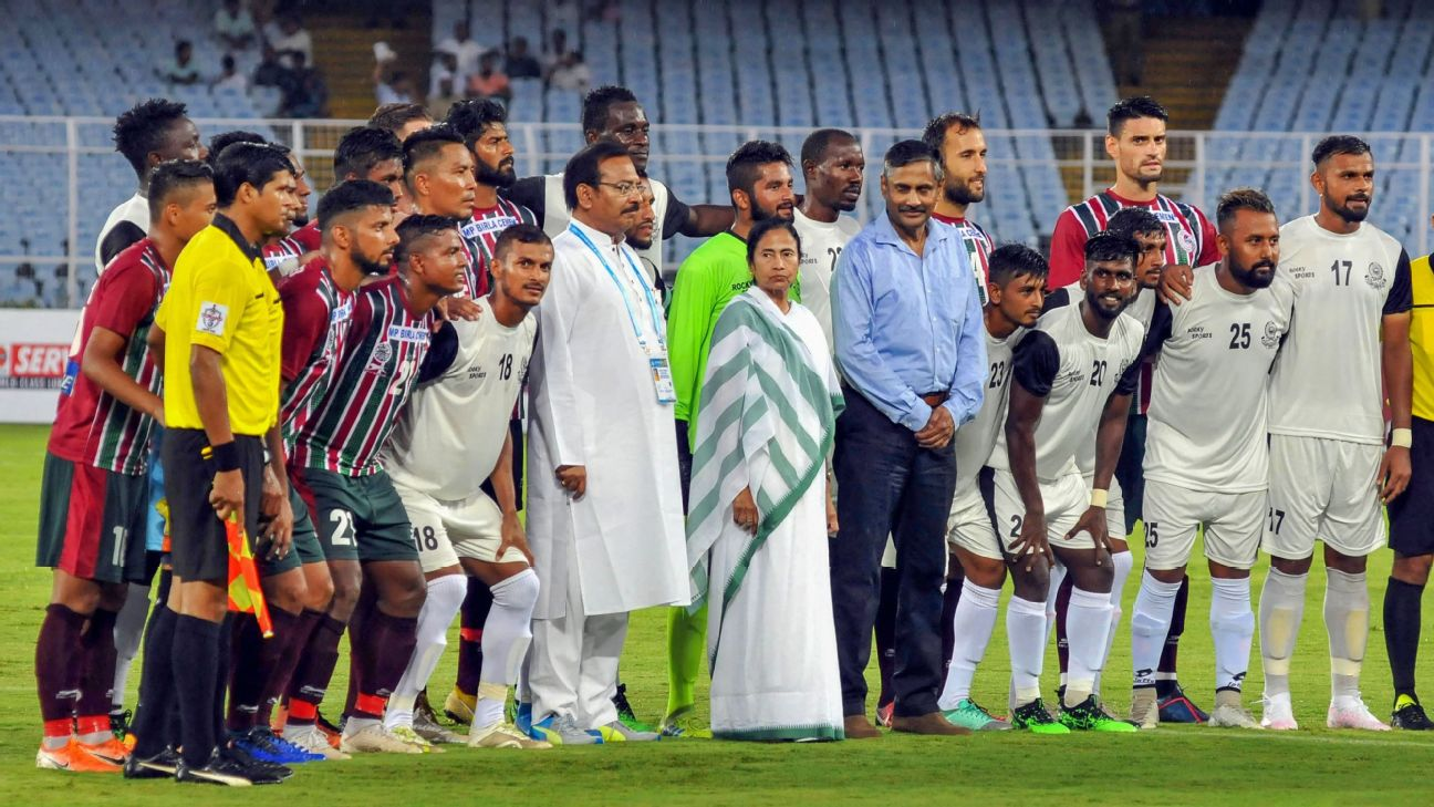 West Bengal Chief Minister Mamata Banerjee at the Durand Cup opener between Mohammedan Sporting Club and Mohun Bagan.