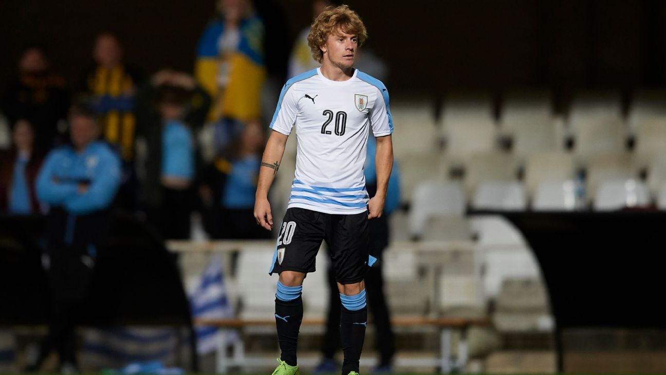 Thomas Chacon looks on during Uruguay's U20 friendly against Ukraine.