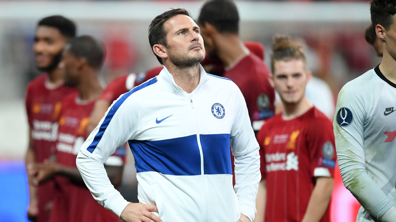 Frank Lampard looks on after his Chelsea team lost to Liverpool in the UEFA Super Cup.