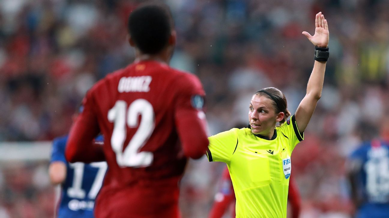 Referee Stephanie Frappart makes a call during the UEFA Super Cup match between Liverpool and Chelsea.