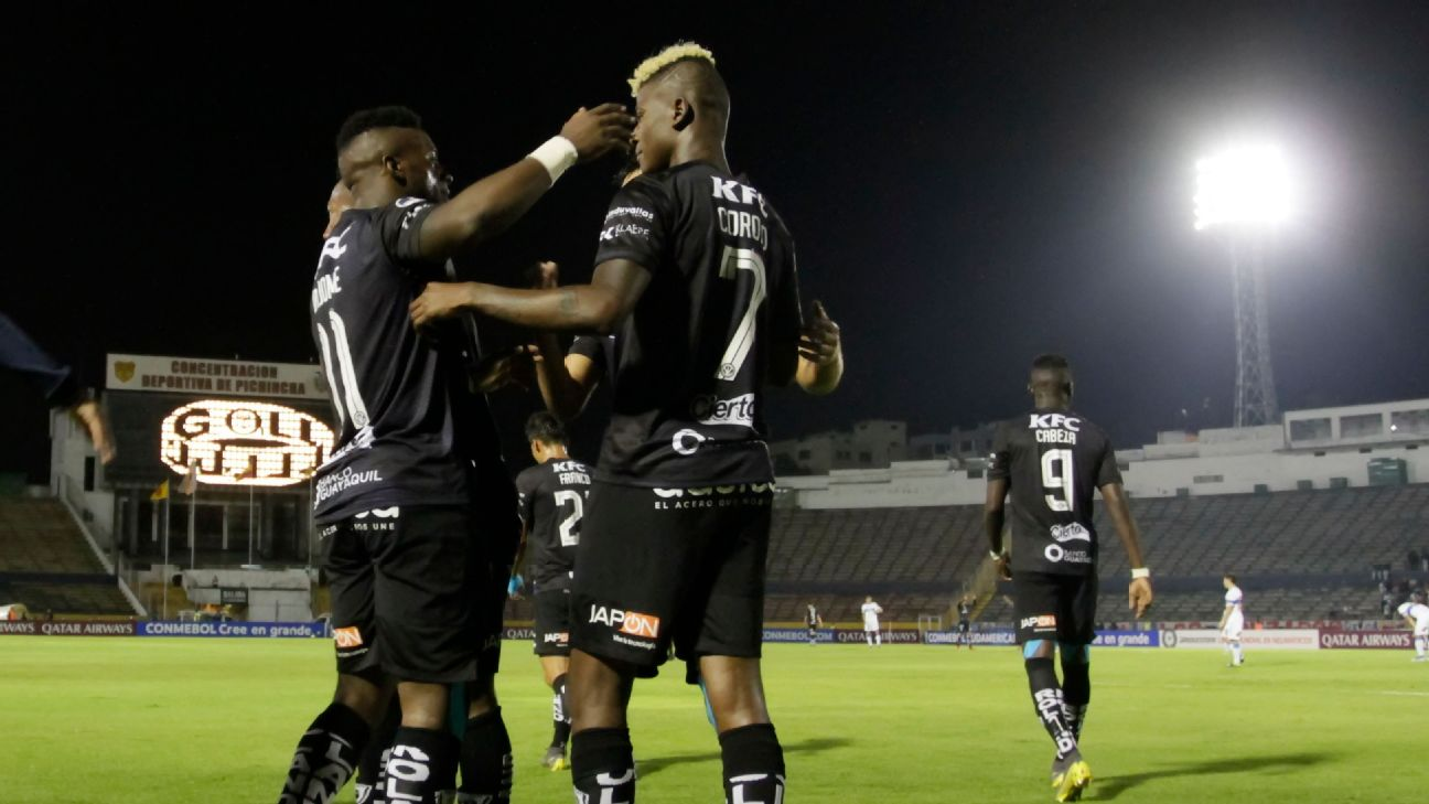 Independiente del Valle players celebrate during a Copa Sudamericana match between Independiente del Valle and Universidad Catolica.