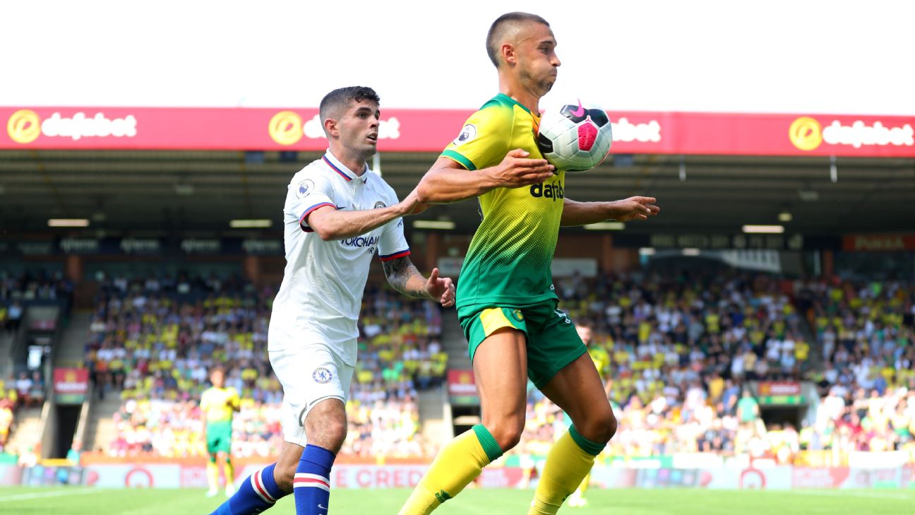 Moritz Leitner of Norwich City chests the ball