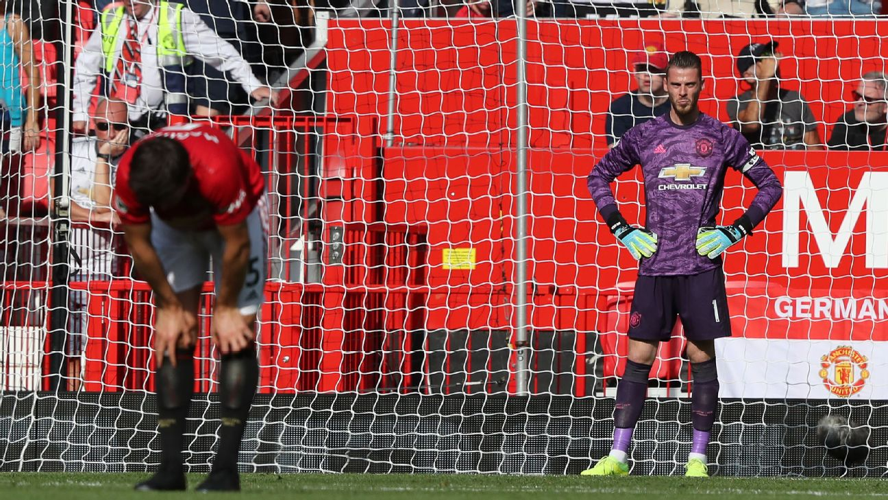 David de Gea and Harry Maguire of Manchester United react to conceding a goal