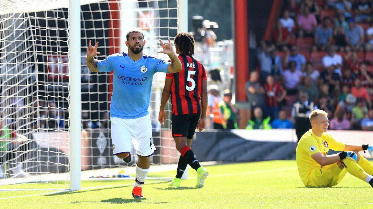 Sergio Aguero of Manchester City celebrates after scoring his team's third goal