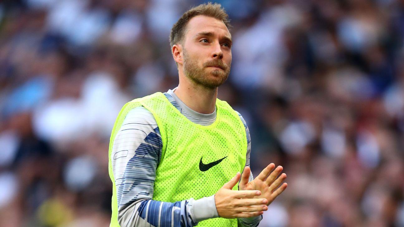 Christian Eriksen looks on during Tottenham's Premier League loss to Newcastle.