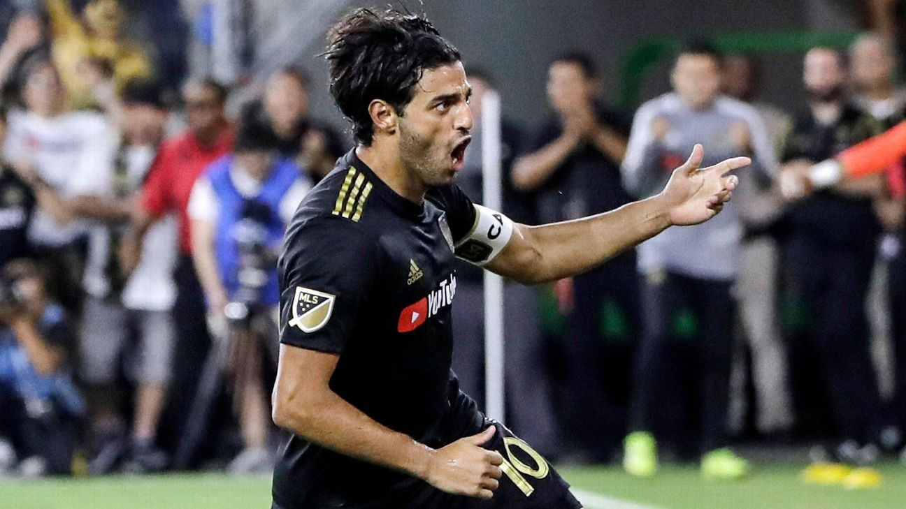 Carlos Vela celebrates after scoring in LAFC's MLS draw with the LA Galaxy.