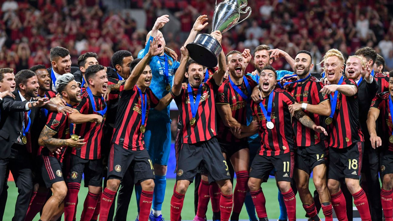 Atlanta United celebrate winning the USOC