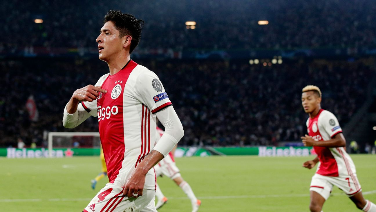 Edson Alvarez celebrates scoring a goal for Ajax in the Champions League playoffs.