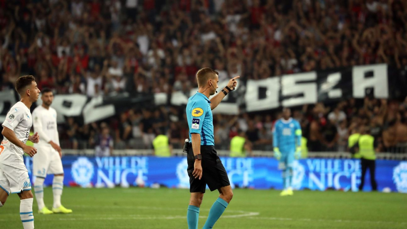 French referee Clement Turpin halted the match between Nice and Marseille because of anti-gay banners in the stands.