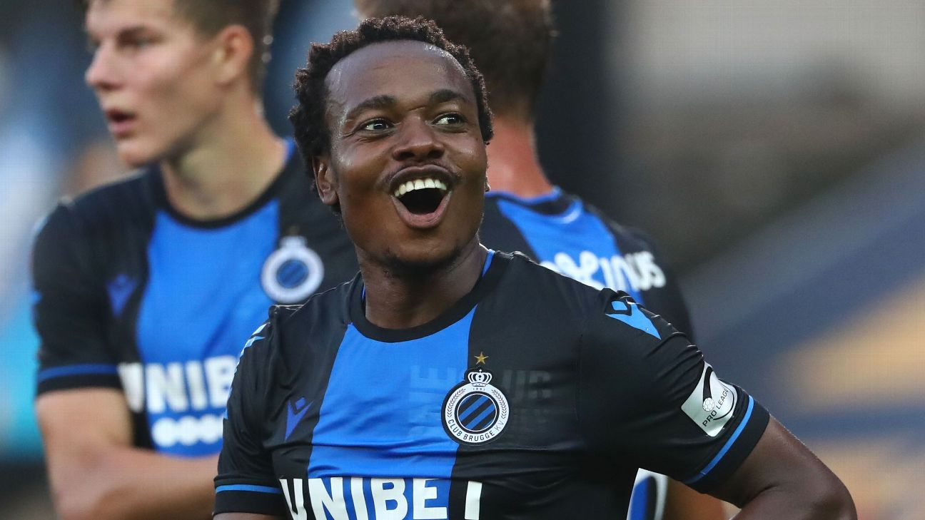 Percy Tau scored in his debut for Belgium's Club Brugge, after being sent there on loan from Brighton.