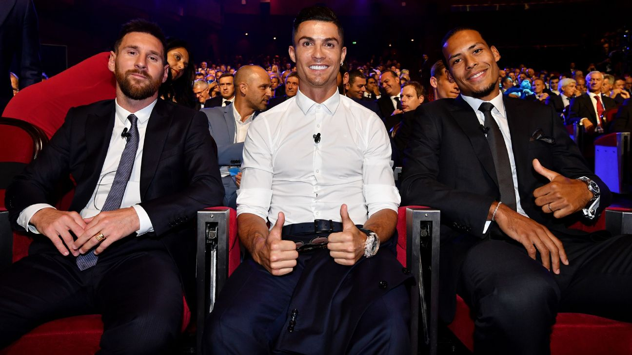 Lionel Messi, Cristiano Ronaldo and Virgil van Dijk