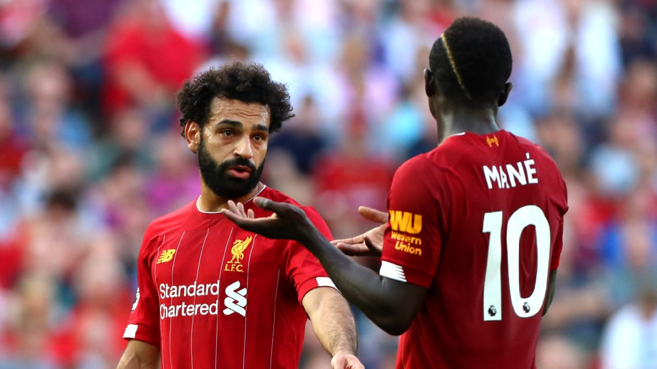 'Put the ball there, OK?!' Mo Salah... probably. Are things a bit tense between him and Sadio Mane of late? Sure looks like it.