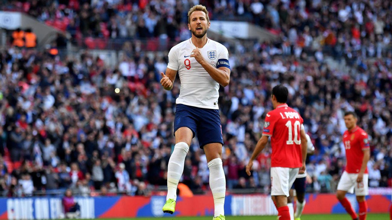 Harry Kane celebrates after scoring in England's Euro 2020 qualifier against Bulgaria.