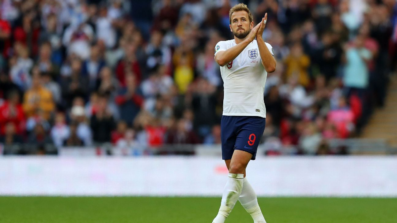 Harry Kane applauds supporters following England's Euro 2020 qualifying win over Bulgaria.