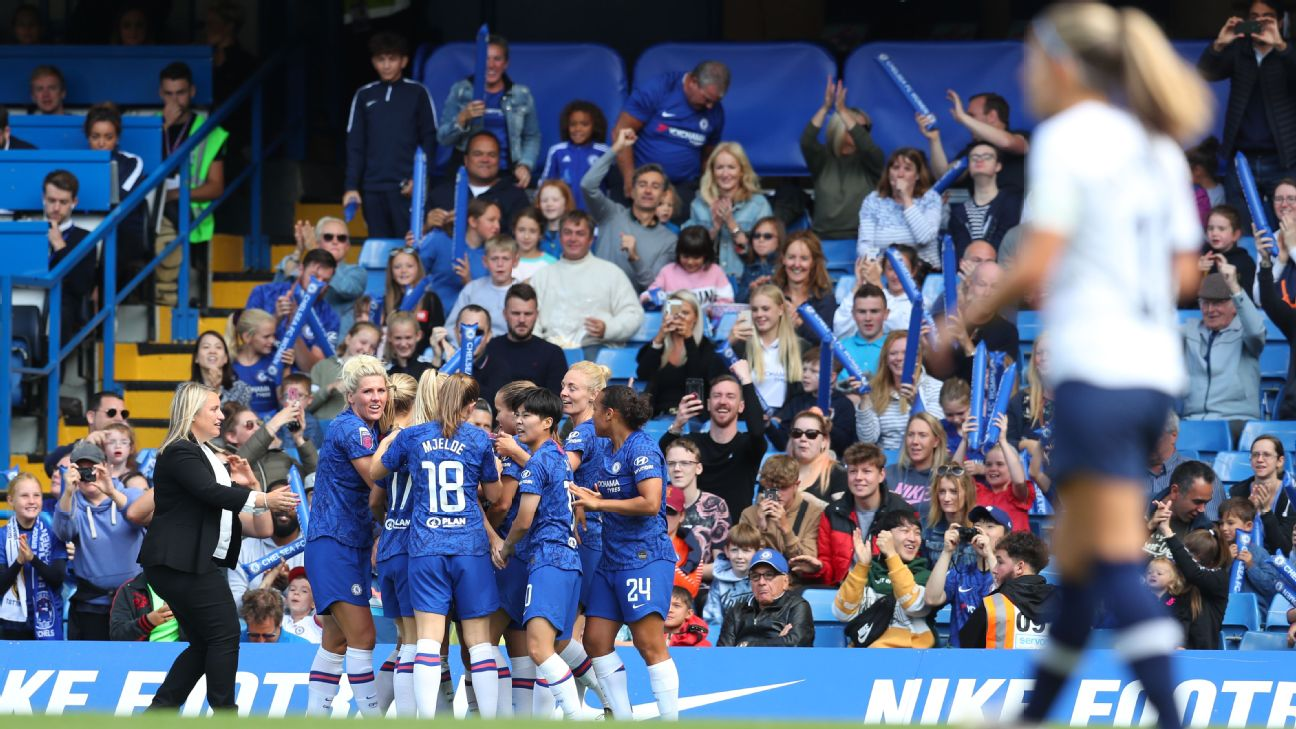 Chelsea women's team players celebrate after scoring a goal against Tottenham.