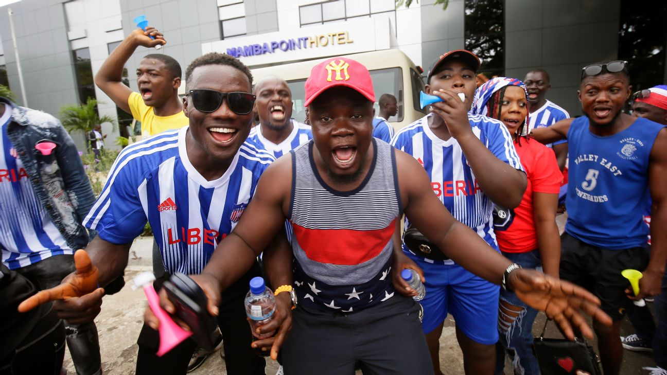 Liberia Fans were in full voice before the second leg of their team's World Cup qualifier against Sierra Leone at Siaka Steven Stadium in Freetown.