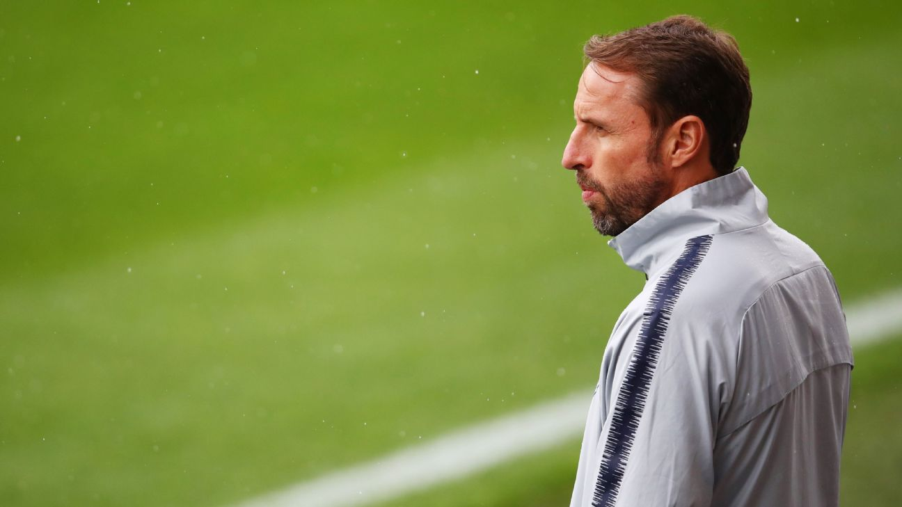 Gareth Southgate looks on during England training ahead of their Euro qualifying match against Kosovo.