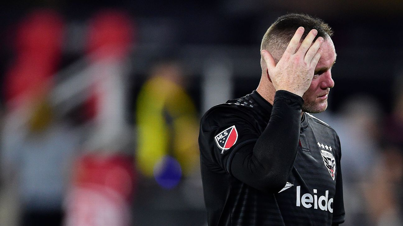 Wayne Rooney looks on during D.C. United's MLS match against the Philadelphia Union.