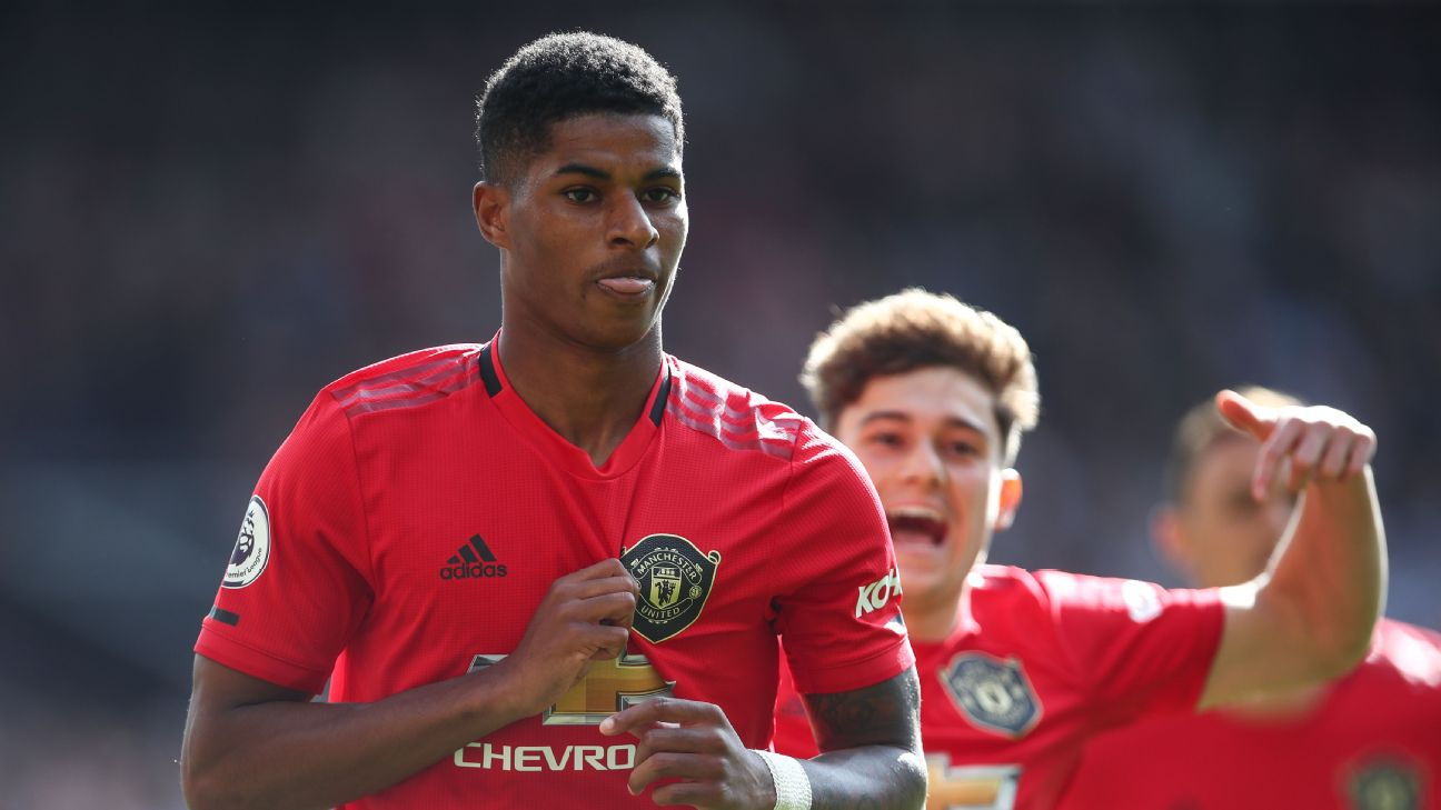 Marcus Rashford celebrates after scoring in Manchester United's Premier League win over Leicester.