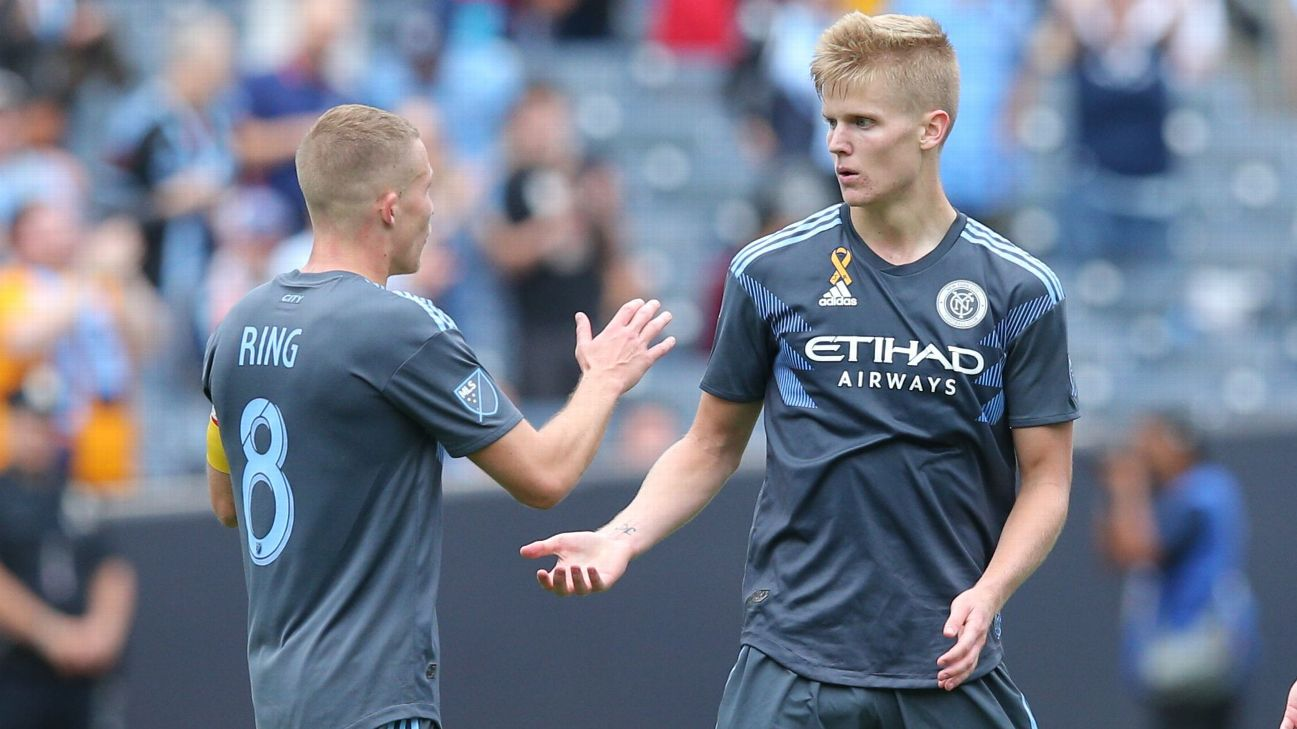 NYCFC midfielder Keaton Parks celebrates after scoring a goal against San Jose.