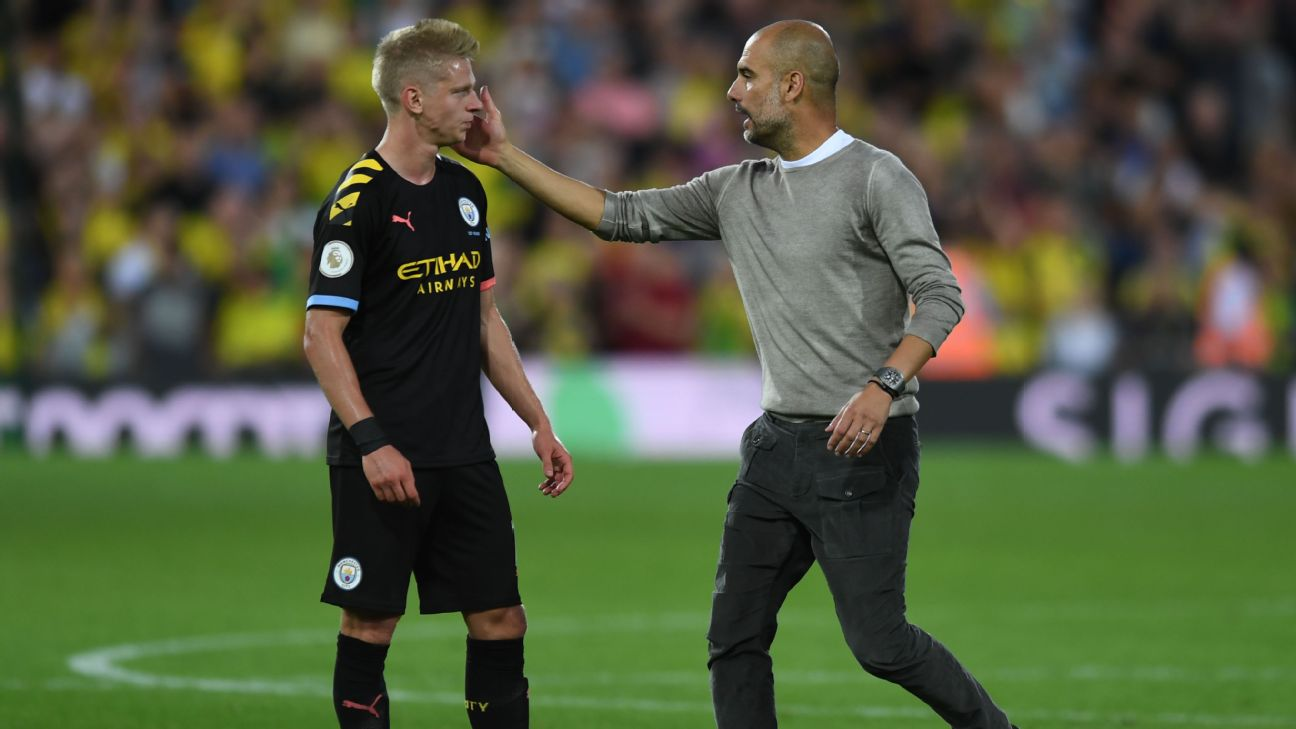 Oleksandr Zinchenko and Pep Guardiola react after Manchester City's Premier League loss at Norwich.