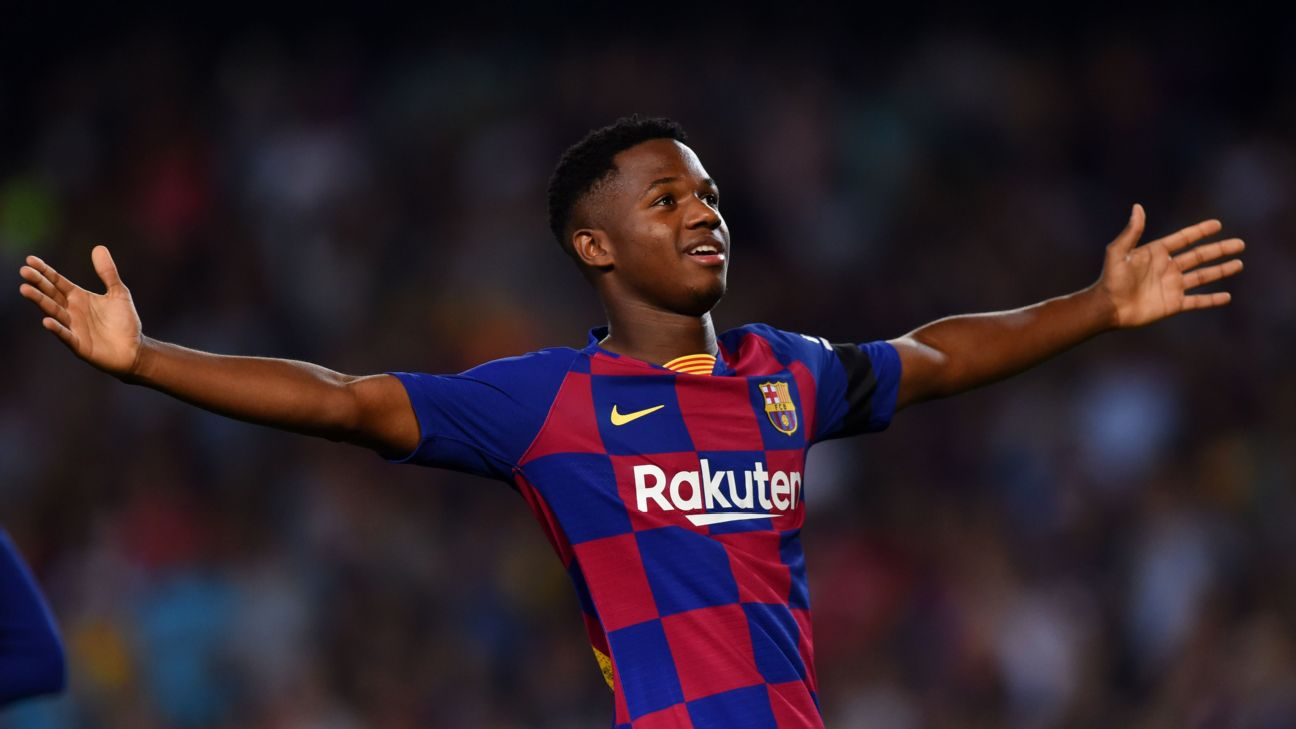 Ansu Fati celebrates after scoring in Barcelona's La Liga win over Valencia.