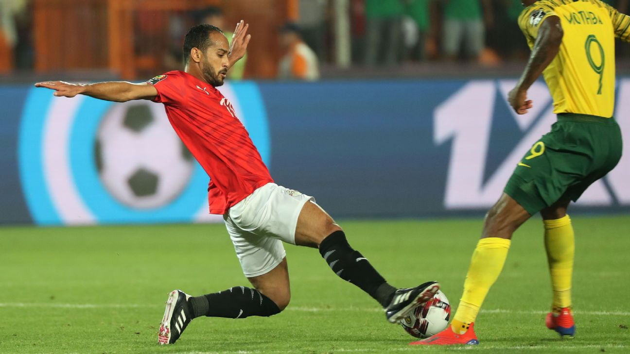 Walid Soliman, pictured playing for Egypt vs. South Africa in the Africa Cup of Nations, was on target for Al Ahly vs. Equatorial Guinea's Cano Sport.