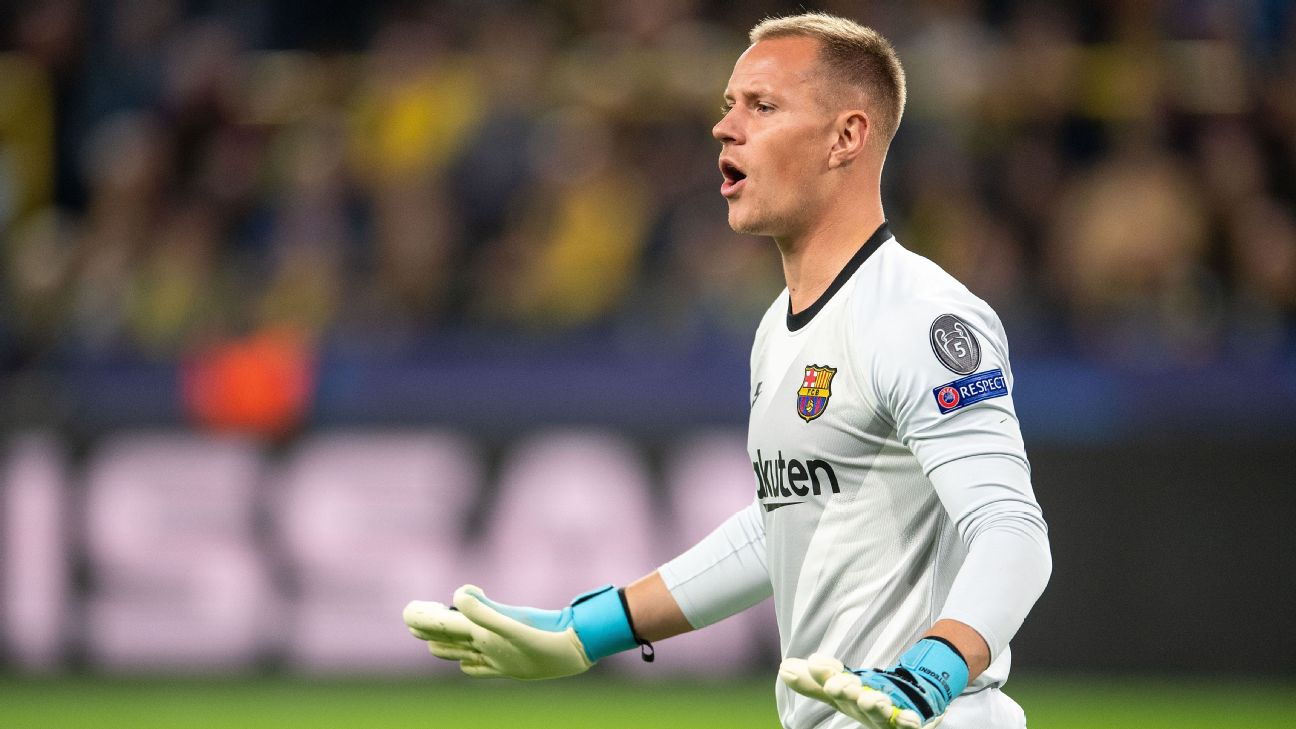 Marc-Andre ter Stegen looks on during Barcelona's Champions League match against Borussia Dortmund.