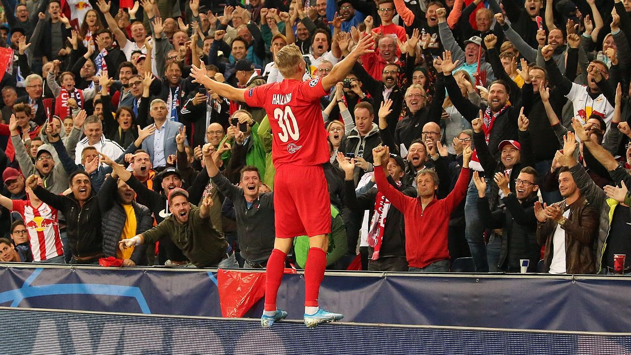 Salzburg's Norwegian forward Erling Braut Haland