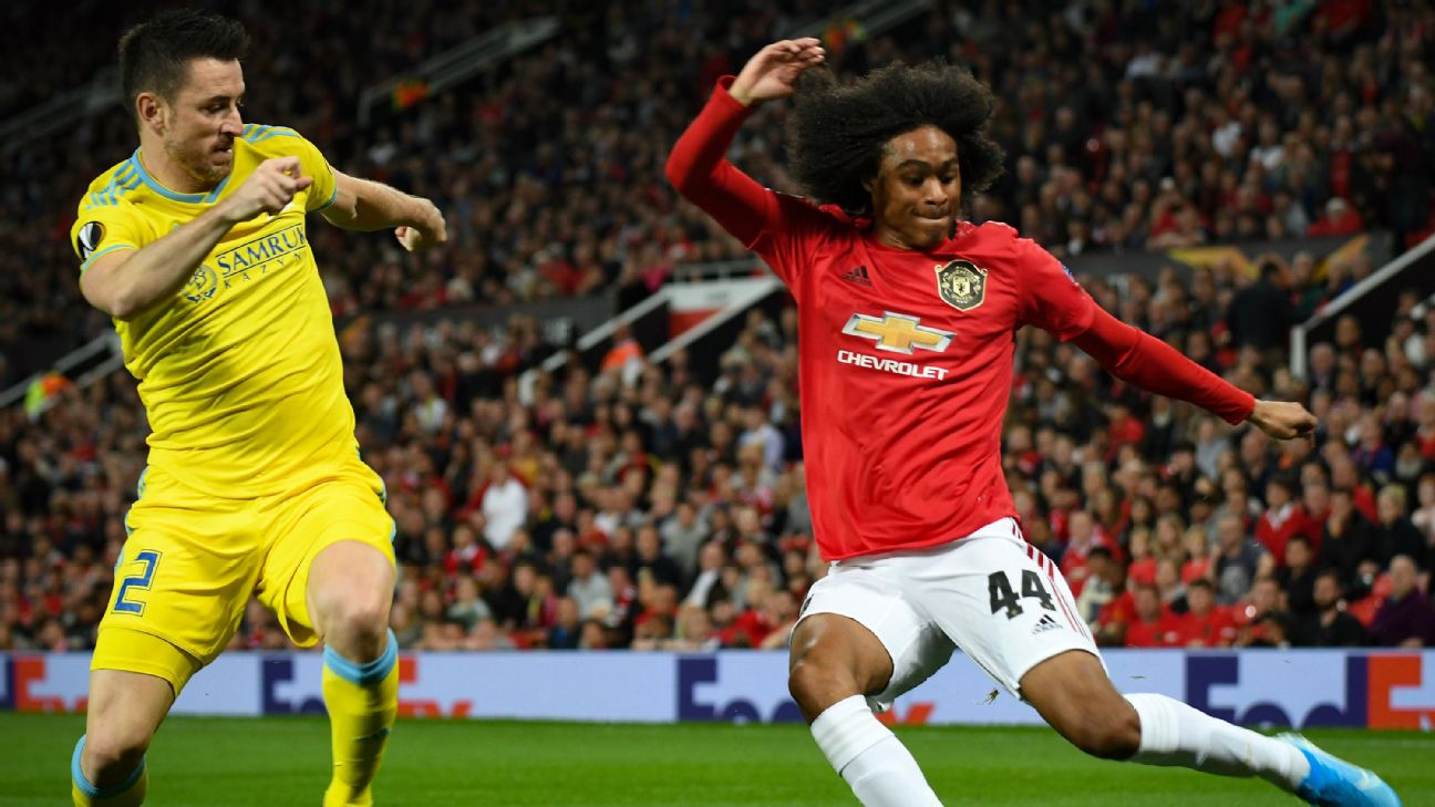Tahith Chong battles for the ball during Manchester United's Europa League match against FK Astana.