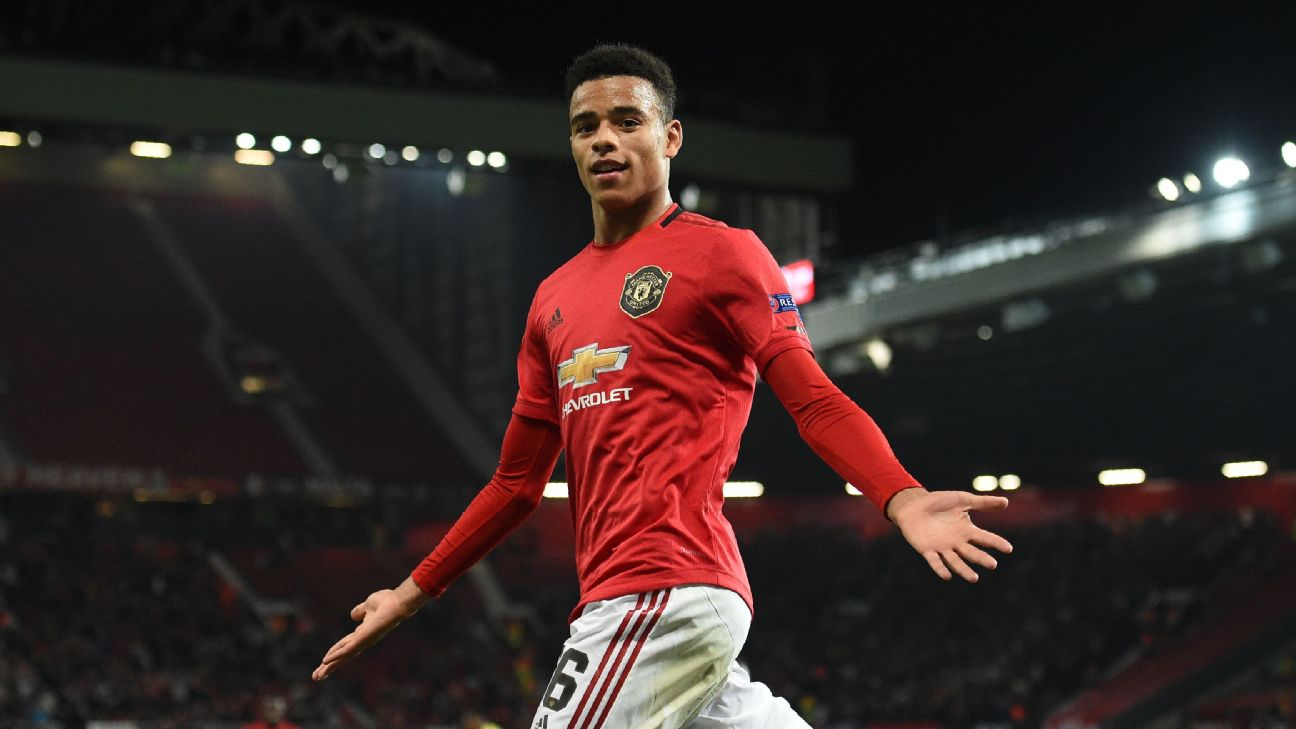 Mason Greenwood celebrates after scoring in Manchester United's Europa League match against FK Astana.
