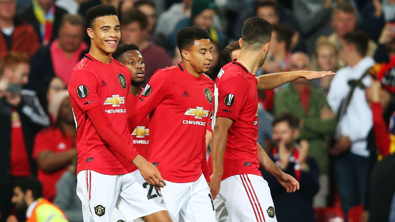 Manchester United players celebrate following Mason Greenwood's goal during the Europa League match against FK Astana.