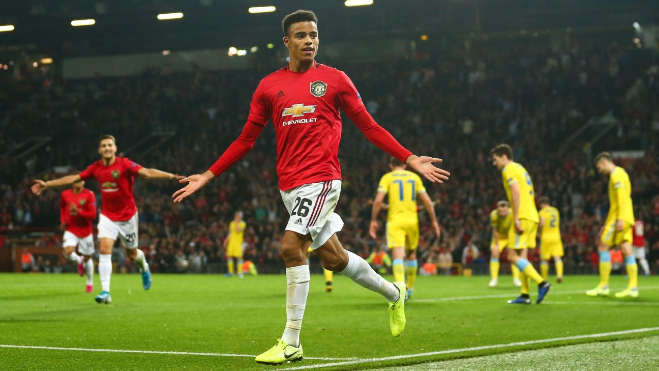 Mason Greenwood celebrates after scoring in Manchester United's Europa League win over FK Astana.