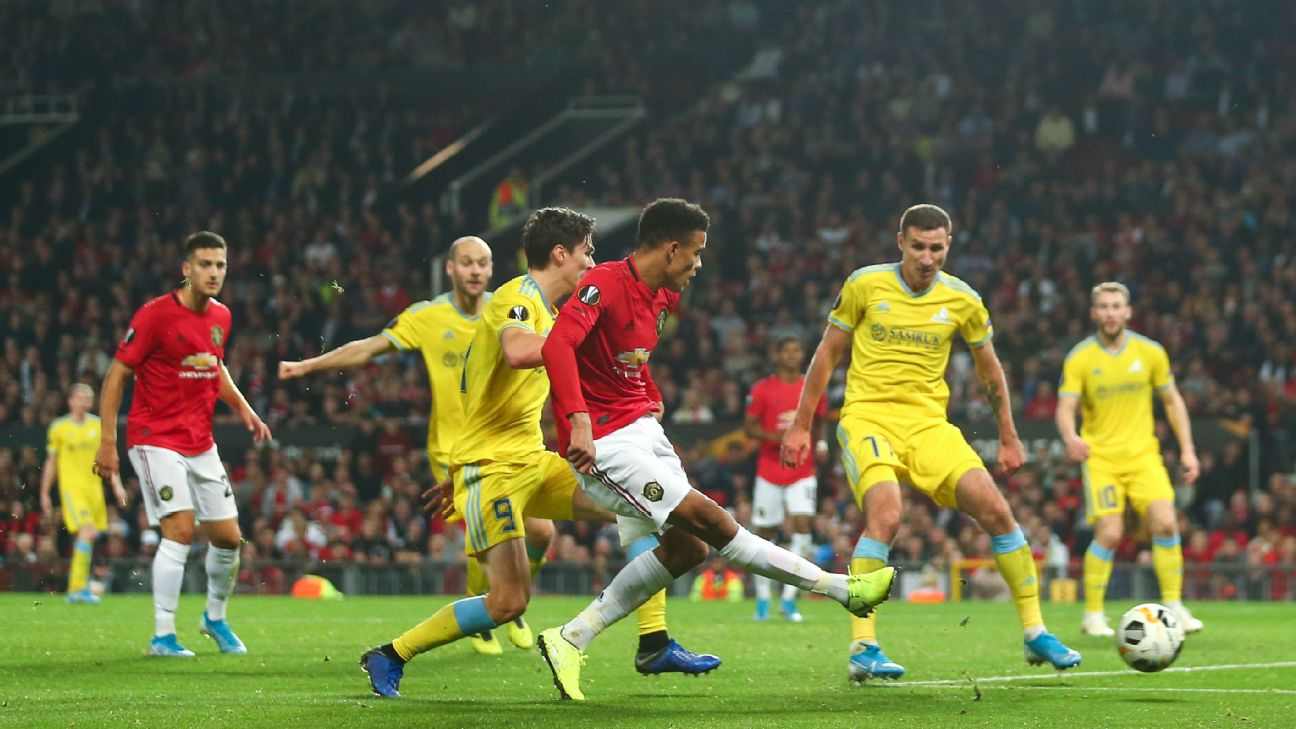 Mason Greenwood scores a goal for Manchester United against Astana in the Europa League.