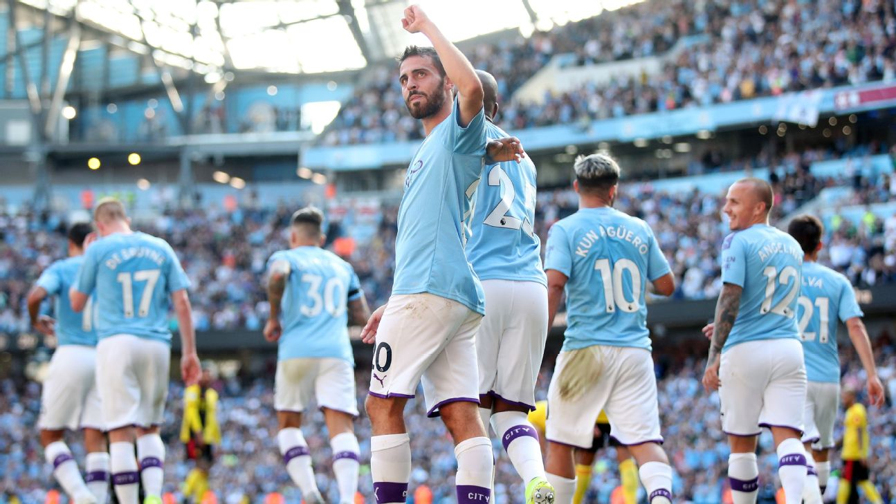 Bernardo Silva celebrates after scoring in Manchester City's Premier League win over Watford.