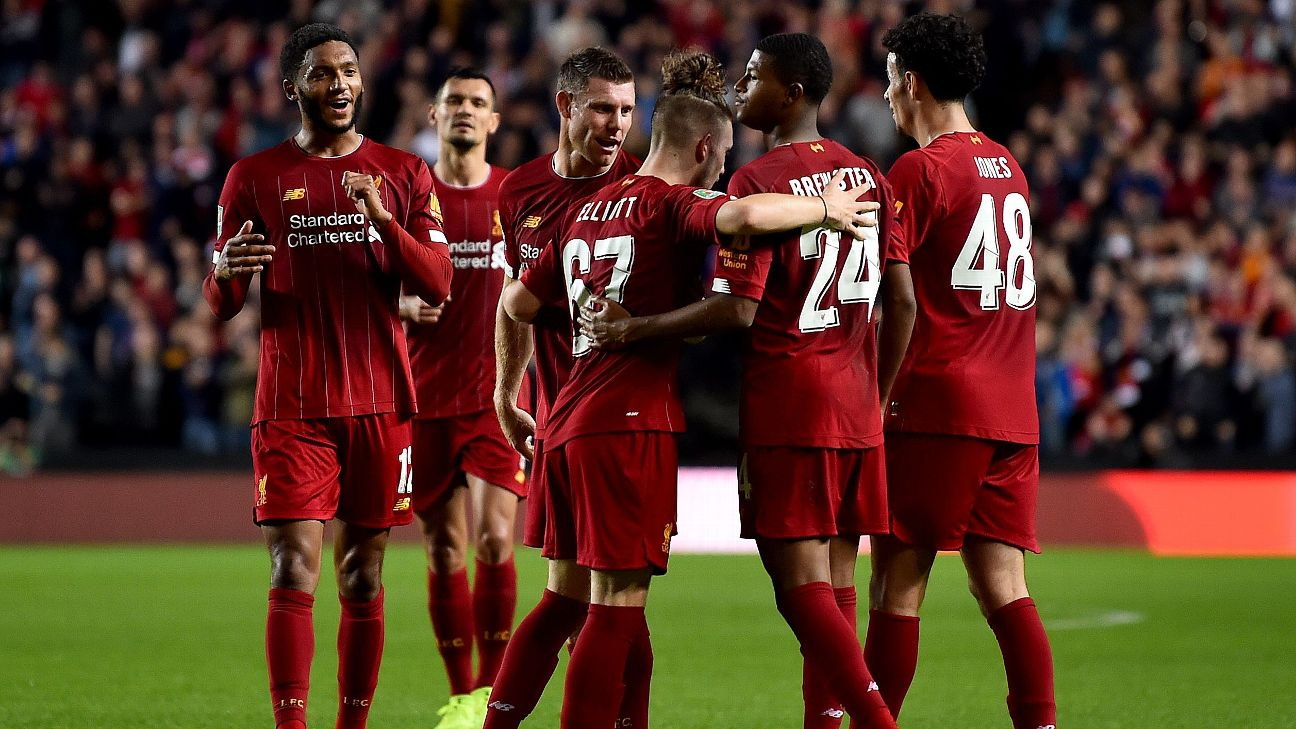 Liverpool celebrate during their Carabao Cup match against MK Dons.