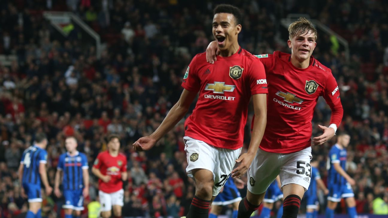 Mason Greenwood celebrates during Manchester United's Carabao Cup against Rochdale.