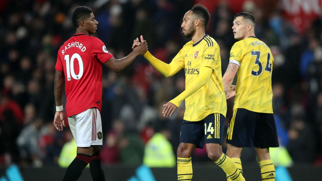 Marcus Rashford and Pierre-Emerick Aubameyang shake hands after the Premier League draw between Manchester United and Arsenal.