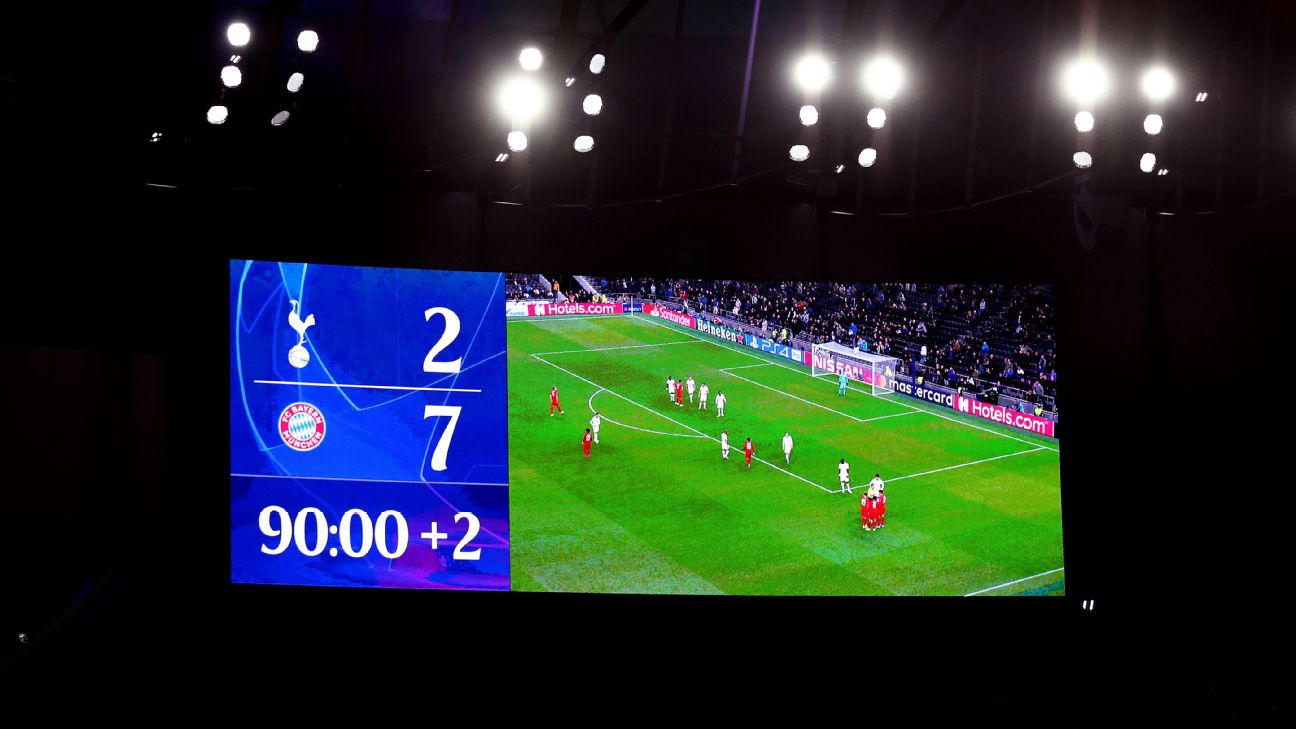 The scoreboard is seen during the UEFA Champions League group B match between Tottenham Hotspur and Bayern Muenchen