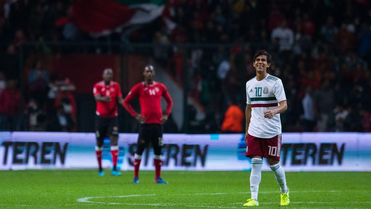 Jose Juan Macias of Mexico celebrates first goal of his team during the international friendly between Mexico and Trinidad & Tobago