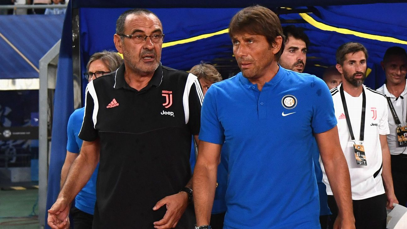 Maurizio Sarri and Antonio Conte look on ahead of the International Champions Cup match between Juventus and Inter.