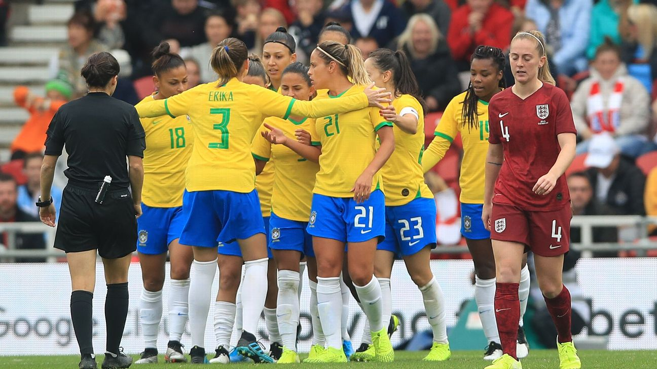 Brazil celebrate their first goal during the International Friendly match
