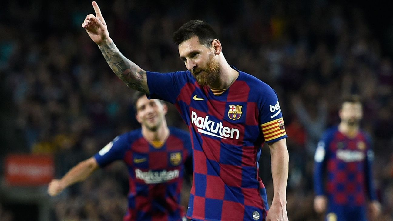 Lionel Messi celebrates after scoring in Barcelona's La Liga win over Sevilla.