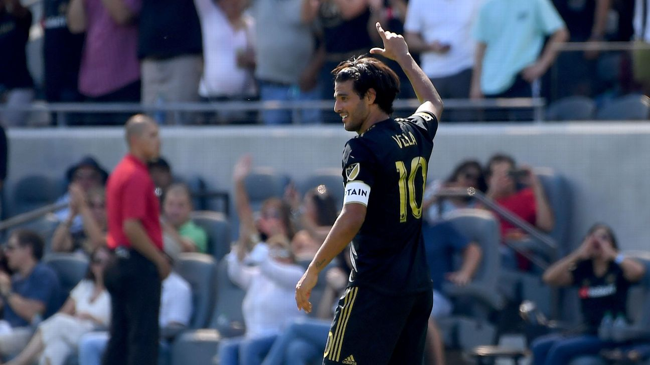 LAFC striker Carlos Vela celebrates after scoring a goal to set a new MLS record for goals in a season.