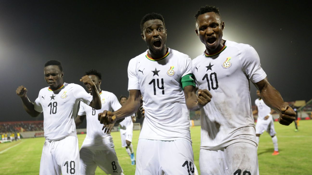 Shafiu Mumuni, center, of Ghana celebrates after scoring one of three goals against Ivory Coast.
