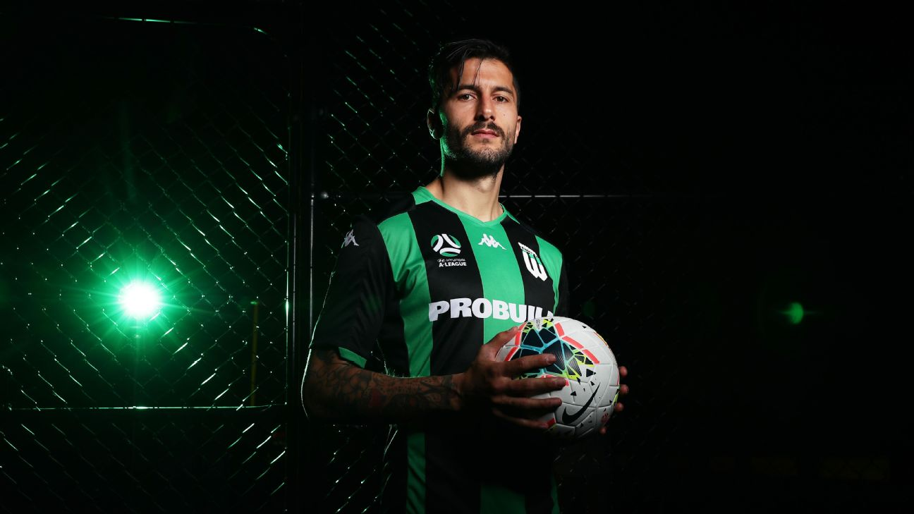 Panagiotis Kone of Western United shows off the new kit for the club's inaugural A-League season.