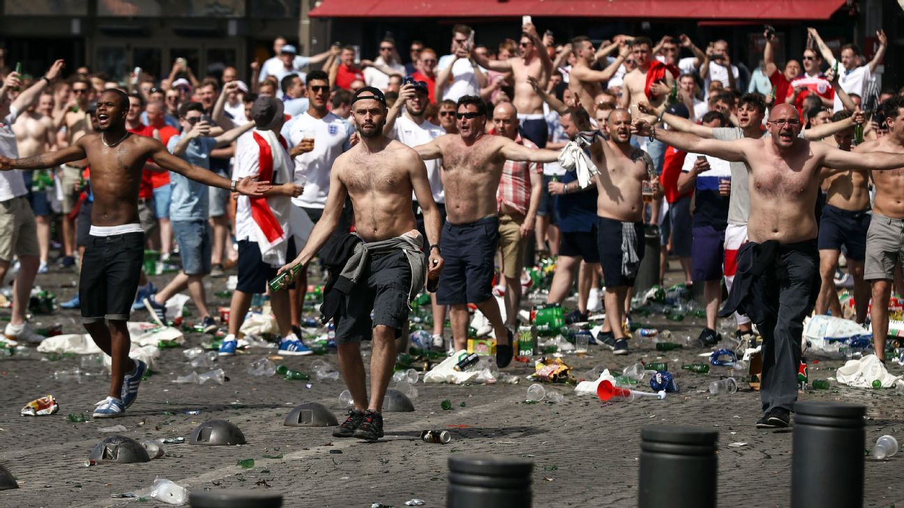 England fans clash with police in Marseille during Euro 2016. It's hardly the only incident of traveling supporters behaving poorly.