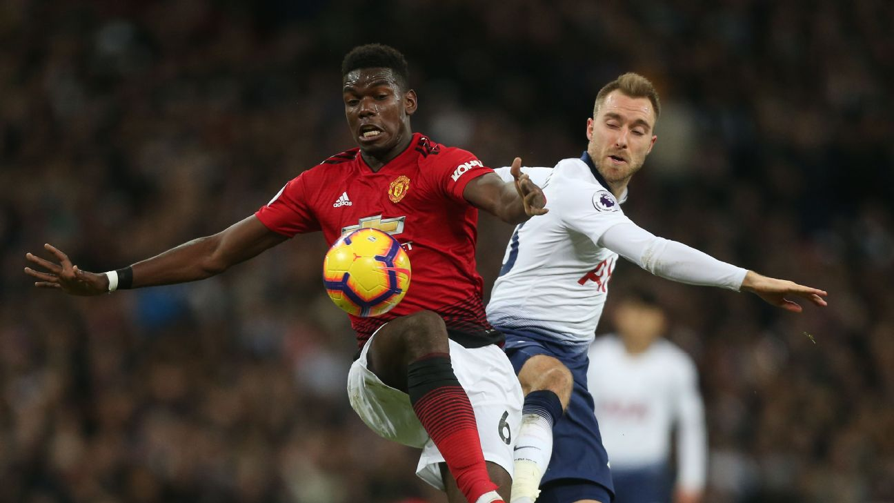 Manchester United's Paul Pogba and Tottenham Hotspur's Christian Eriksen