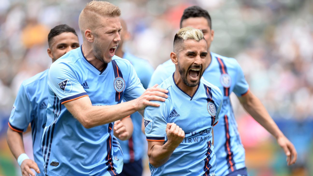 Maxi Moralez and New York City FC players celebrate during their MLS match against the LA Galaxy.